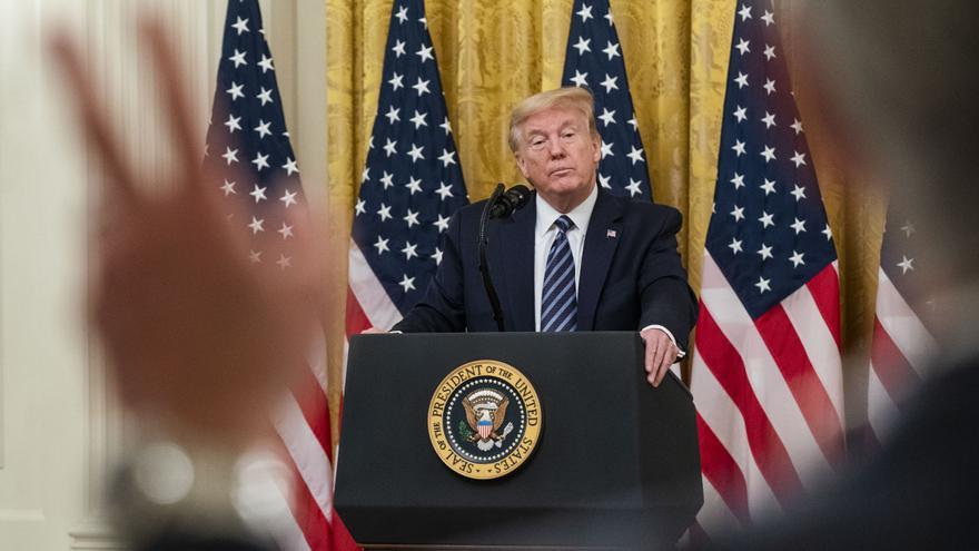 Donald Trump durante una rueda de prensa en la Casa Blanca.
