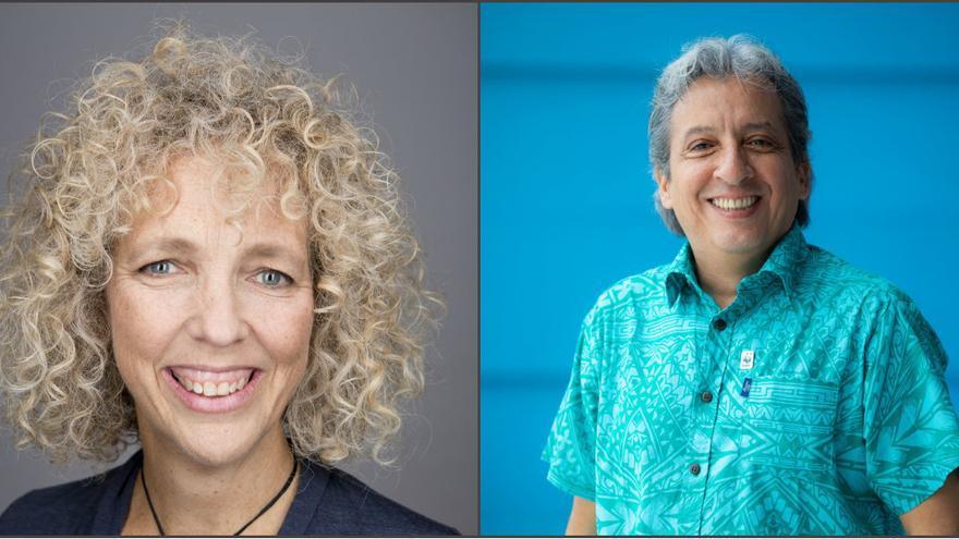 Jennifer Morgan, directora de Greenpeace, y Manuel Pulgar-Vidal, líder de Clima de WWF, ponentes de Change the Change