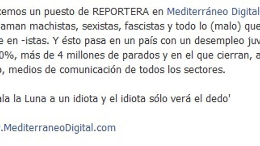 Publicación de Mediterráneo Digital en su facebook.