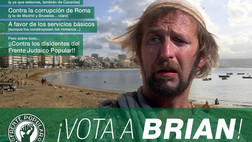 Cartel de campaña del Frente Popular de Judea de Canarias (FPJC) (FACEBOOK)