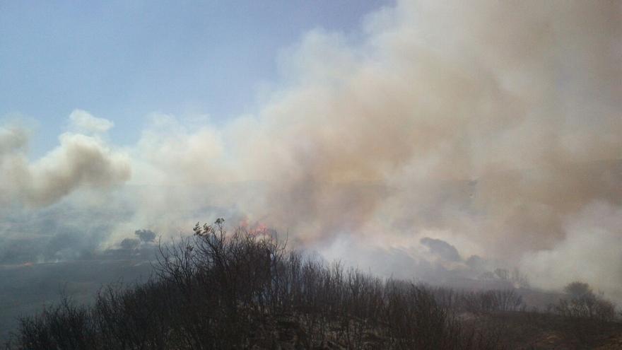 Incendio en Undués de Lerda (Zaragoza) controlado el pasado martes.