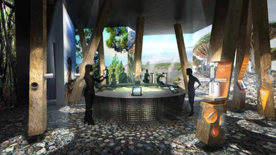 Recreación de la sala 'De vuelta a la Tierra' del Centro de Interpretación del Roque de Los Muchachos.