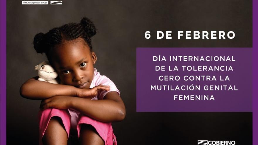 Cartel del Gobierno de Aragón con motivo del Día Internacional de Tolerancia Cero con la Mutilación Genital Femenina