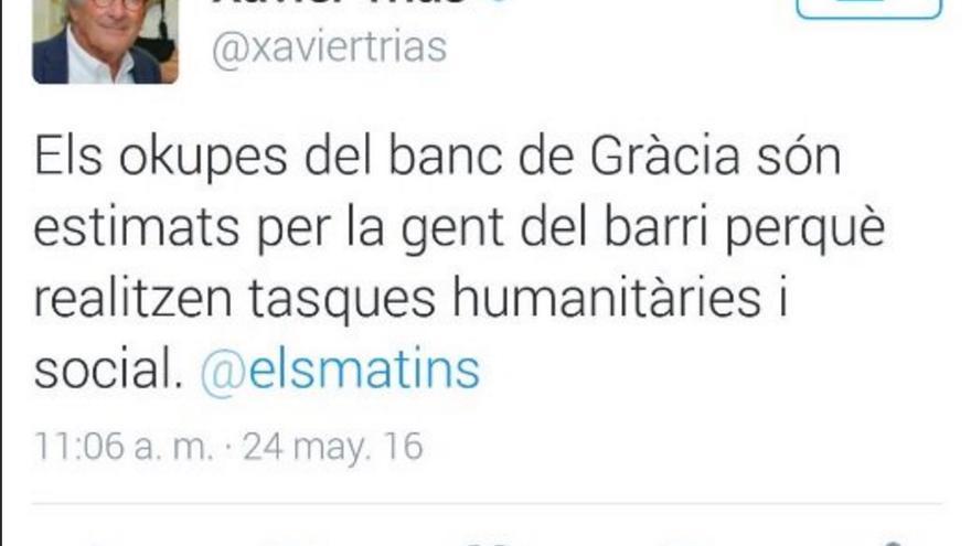 Captura de pantalla del tuit borrado en la cuenta de Xavier Trias
