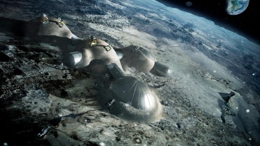 Representación de una posible base lunar