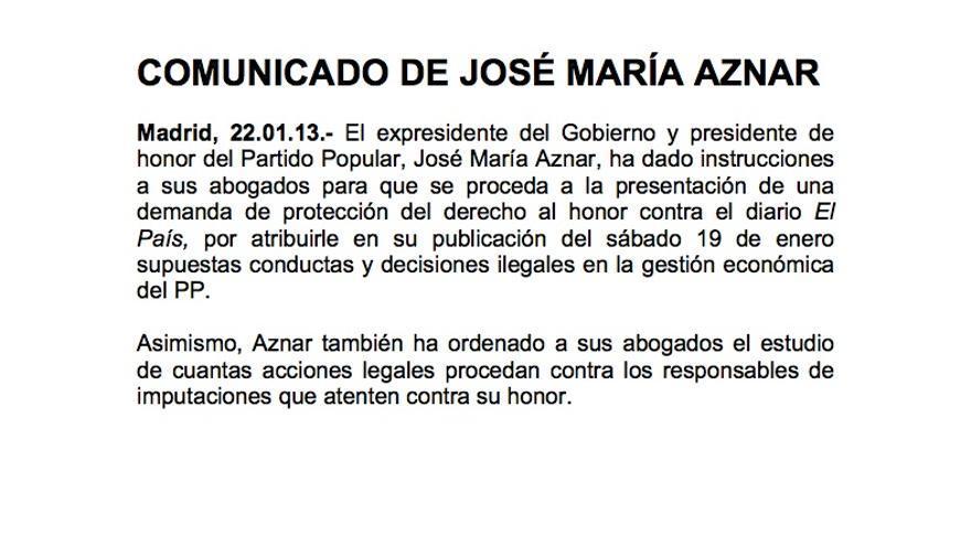 Comunicado de José María Aznar