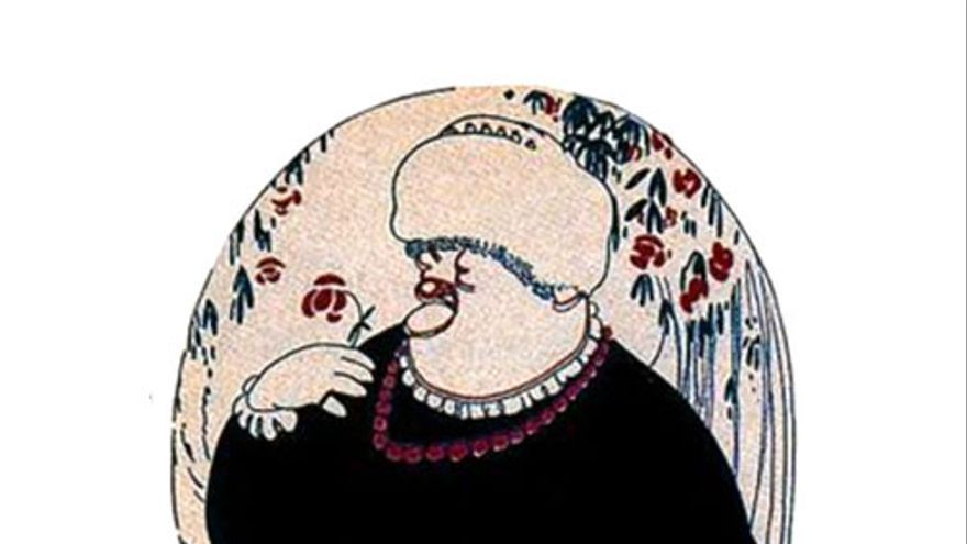 Caricatura de Emilia Pardo Bazán por Llus Bagaria/Taurus