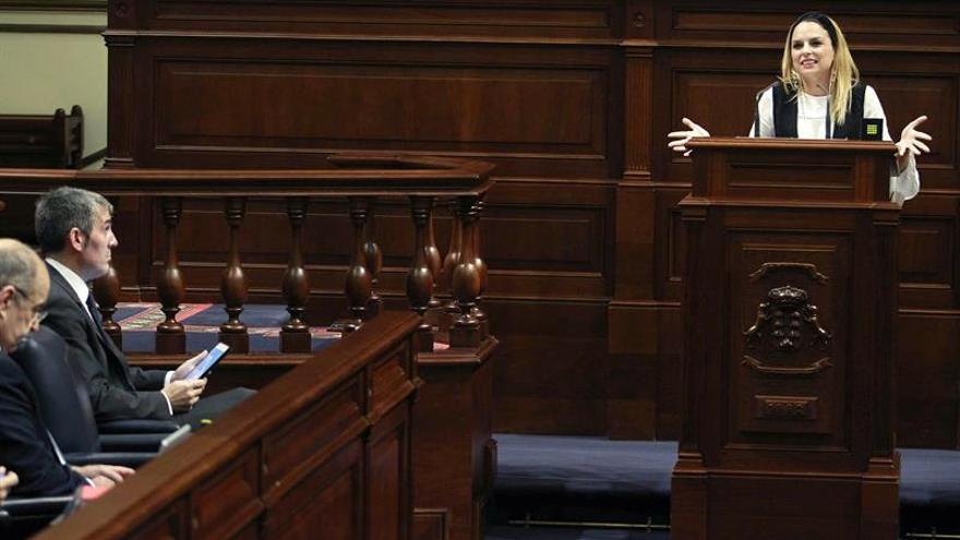 La portavoz del grupo Podemos, Noemí Santana, durante la defensa de una enmienda a la totalidad de llamada Ley del Suelo en el pleno del Parlamento de Canarias. EFE/Cristóbal García