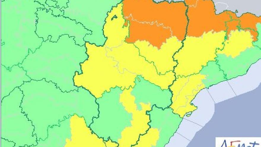 La AEMET emitió aviso de nivel naranja por lluvias y tormentas en el Pirineo y en el centro de la provincia de Huesca