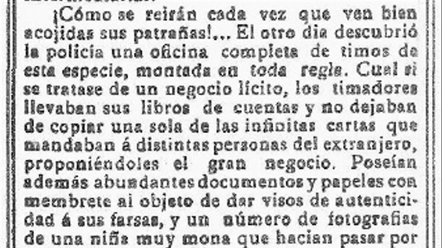 Página del periódico La Vanguardia del 7 de frebrero de 1897