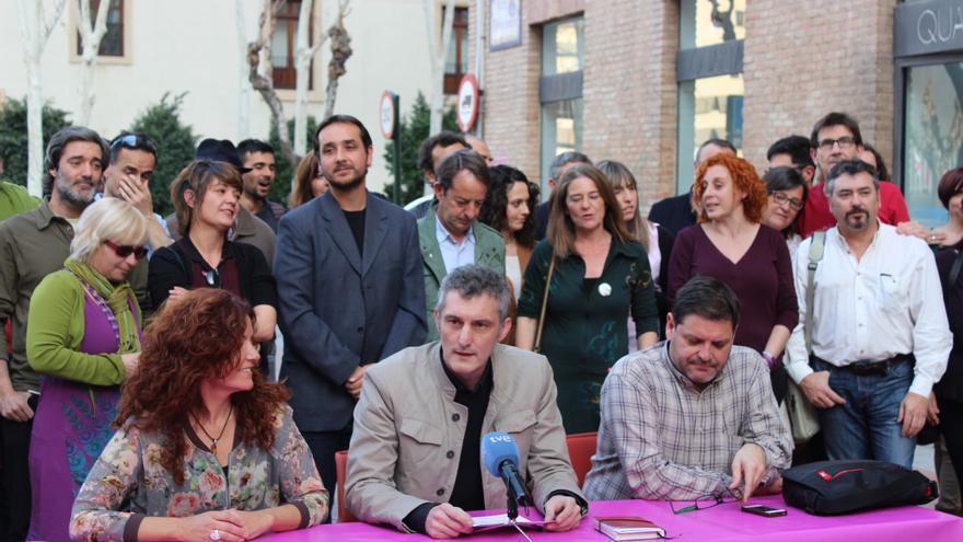 Los miembros de la candidatura 'Claro que Podemos' Región de Murcia, con Urralburu al frente / PSS