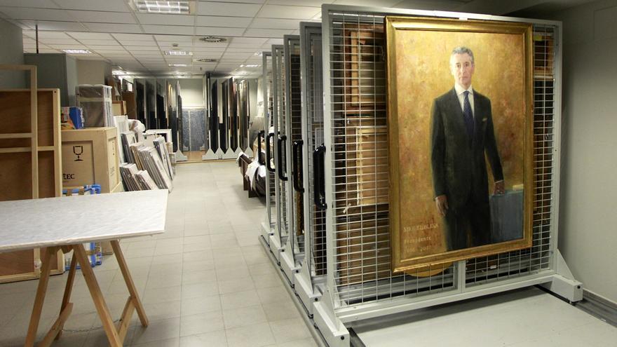 Retrato de Miguel Blesa que está guardado en el almacén de la Fundació Caja Madrid. Foto: Marta Jara.