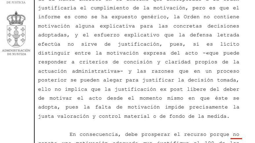 Fragmento de la sentencia emitida este miércoles por el Tribunal Superior de Galicia anulando los servicios mínimos de una huelga en el 061