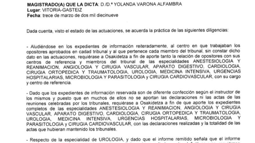 Providencia de la juez Yolanda Varona