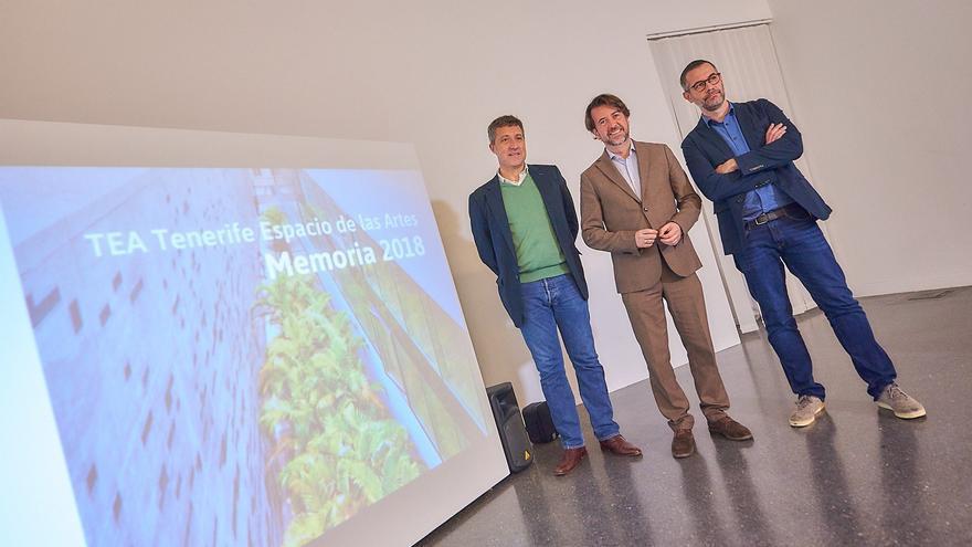 José Luis Rivero, Carlos Alonso y Gilberto González, en la presentación de la memoria de 2018