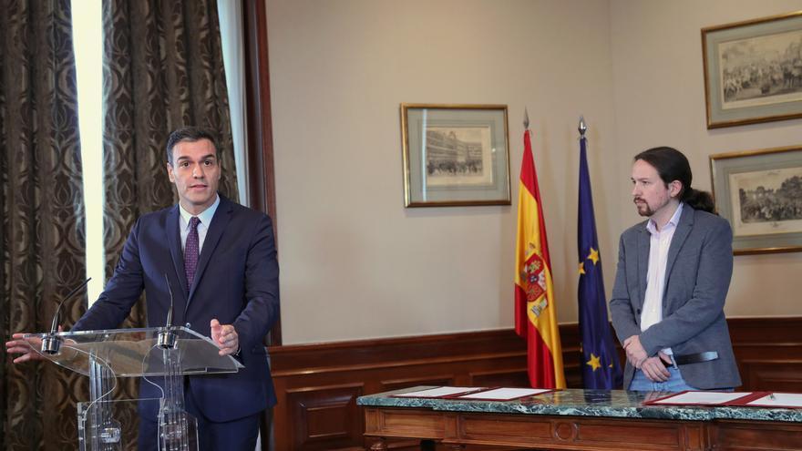 Pedro Sánchez y Pablo Iglesias este martes