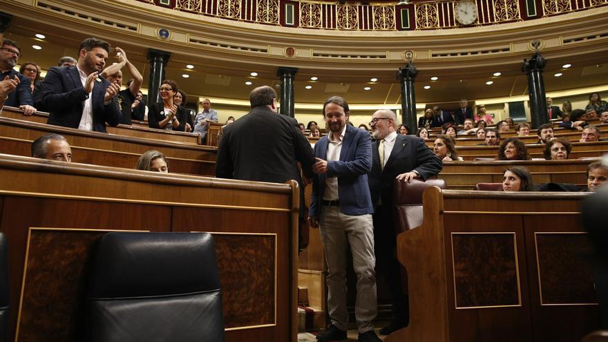 """Rufián llama """"cobarde"""" a Iglesias y éste le responde: """"Con muchos de vosotros compartimos valores e ideas"""""""