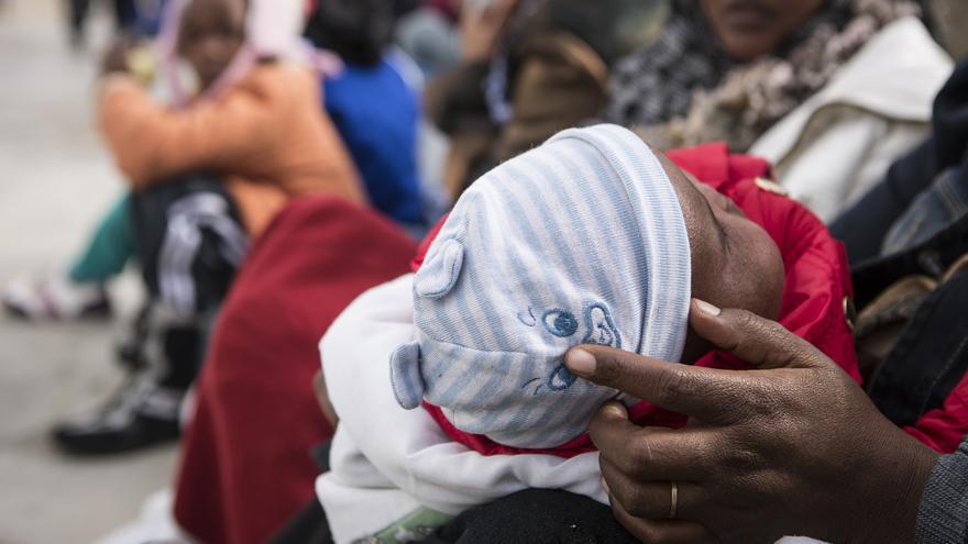 Fátima, de 23 años, dio a luz en una celda en Libia
