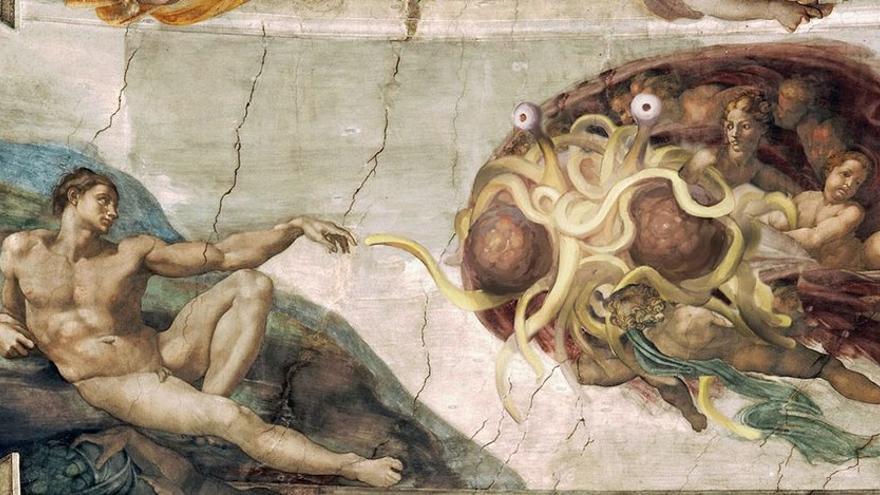 Ilustración del Monstruo Spagueti Volador del pastafarismo.