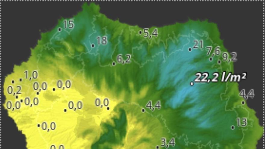 Mapa de HD Meteo La Palma de la lluvia caída, hasta las 14.00 horas de este jueves, 27 de noviembre, en diversos puntos de La Palma.