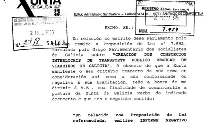 Fragmento del anterior informe negativo a una ley de la oposición, datado en noviembre de 1995
