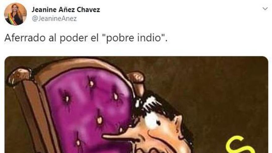 Tuit con viñeta de Jeanine Áñez