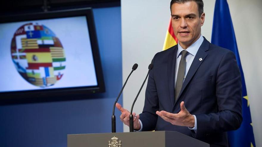 El presidente del Gobierno, Pedro Sánchez, durante la rueda de prensa ofrecida al término del Consejo Europeo de Bruselas