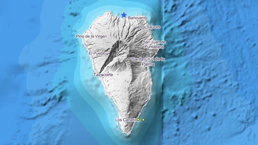 Imagen del IGN donde se indica el lugar  donde   se ha localizado este jueves, 21 de noviembre, en la costa de Barloventeo, así como los dos registrados en el litoral de Fuencaliente el pasado mates.