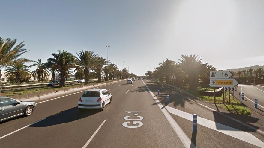Autopista GC-1, a su paso por el aeropuerto de Gran Canaria