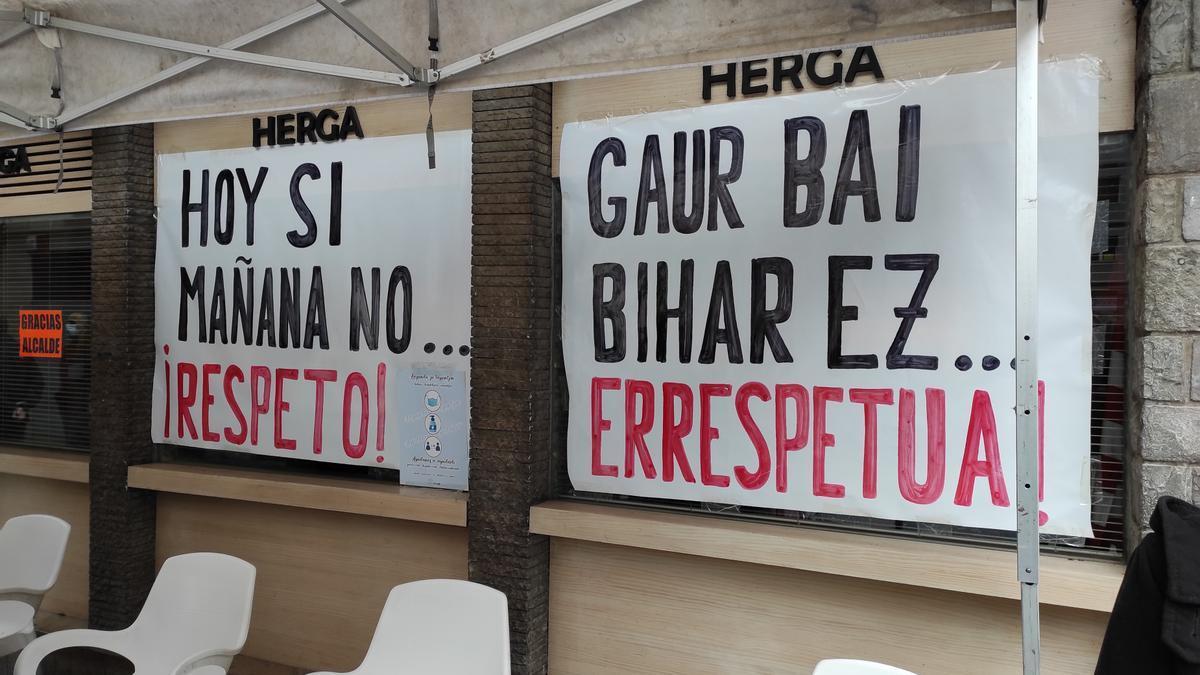 Protesta de hosteleros en Ermua