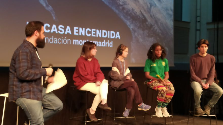 Greta Thunberg en la rueda de prensa de Fridays for Future en Madrid
