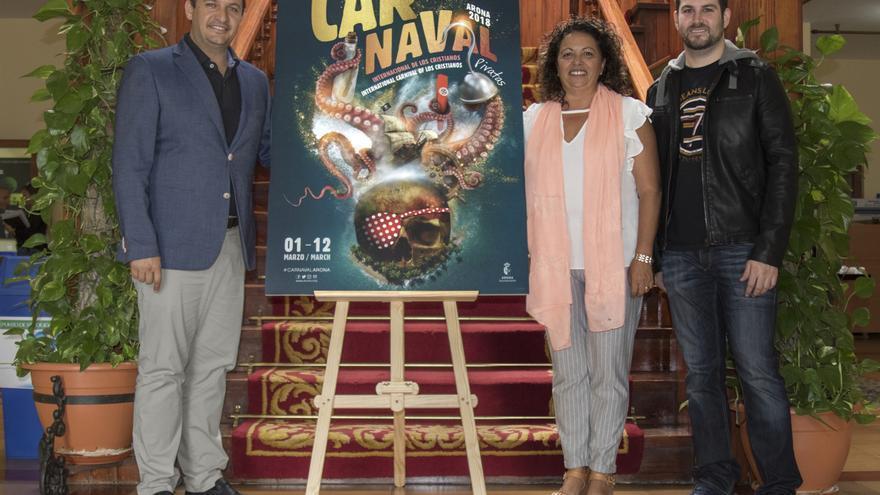 José Julián Mena, alcalde de Arona, con el cartel de 2018 y su autor, este a la derecha