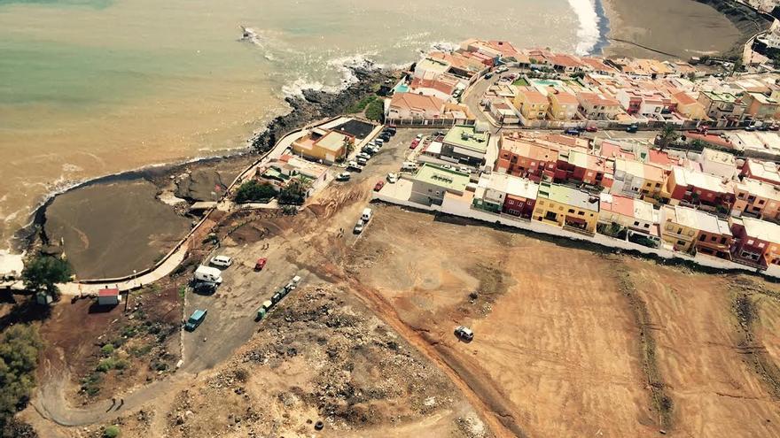 Vista aérea de la costa de Telde tras las lluvias de esta semana.