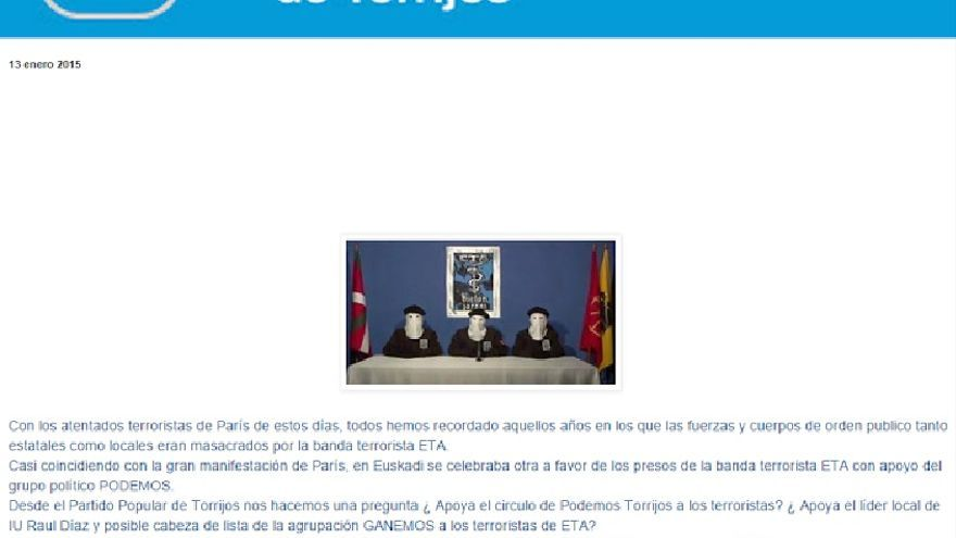 Acusación del PP de Torrijos (Toledo) a Podemos e IU / Imagen: Web PP Torrijos