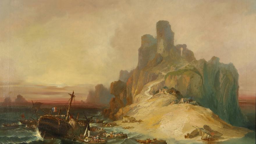 Lucas Velázquez, Eugenio, 'Naufragio en la costa', 1855