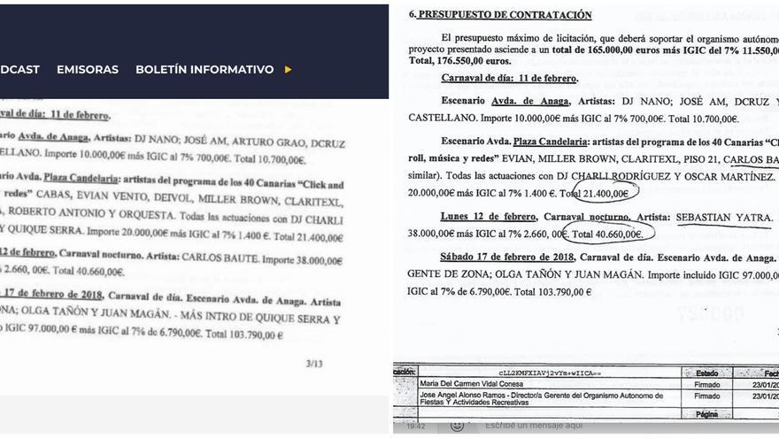 Documento compartido por la Cadena Ser (izquierda) y página 3 de 13 del contrato que obra en el expediente municipal y al que ha tenido acceso este periódico (derecha).
