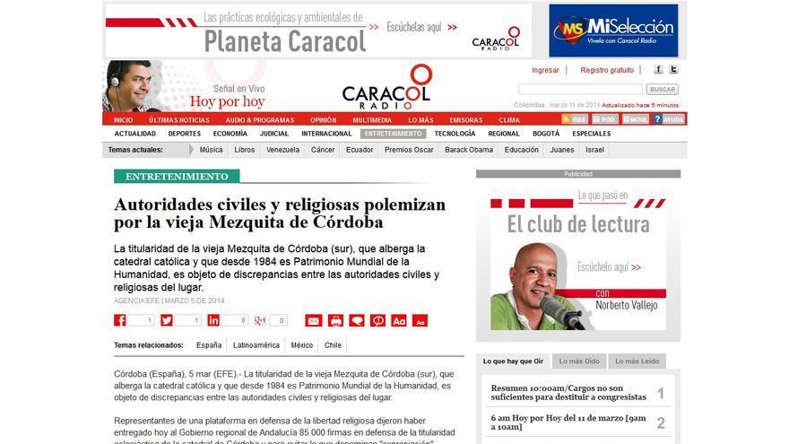 La colombiana Radio Caracol también habla de la polémica con la Mezquita