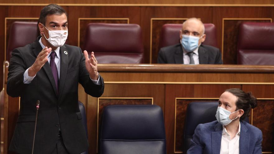 El presidente del Gobierno, Pedro Sánchez, interviene durante una nueva sesión de control al gobierno en el Congreso de los Diputados