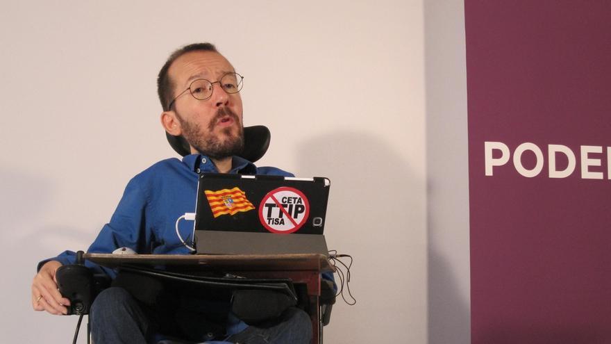Pablo Echenique (Podemos) participa este domingo en un acto en Ansoáin