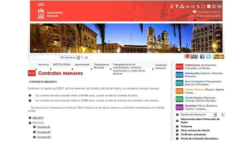 Sección de contratos menores del Ayuntamiento de Murcia