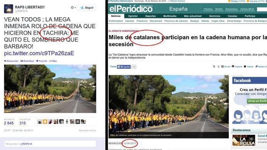 Cadena humana en Cataluña
