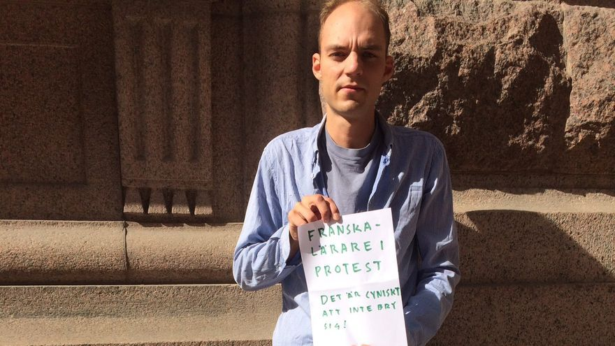 Benjamin Wagner durante una protesta frente al parlamento sueco el 22 de agosto de 2018