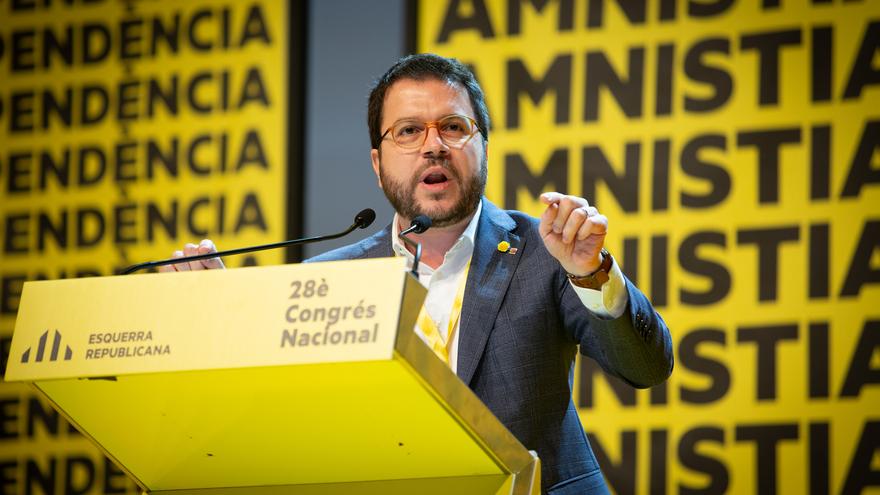 El vicepresidente del Govern, Pere Aragonès, interviene en el 28 Congreso Nacional de ERC, en Barcelona a 21 de diciembre de 2019