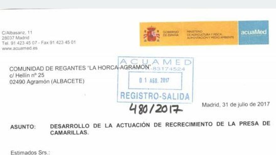 Carta de Acuamed a los regantes de La Horca-Agramón.