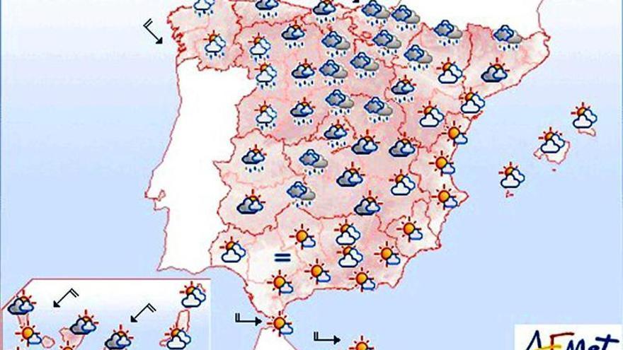 Bajan las temperaturas excepto en el suroeste peninsular y Canarias