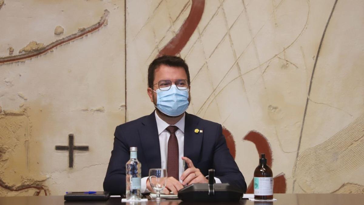 El presidente del Govern, Pere Aragonès, en el Consell Executiu del 31 de agosto