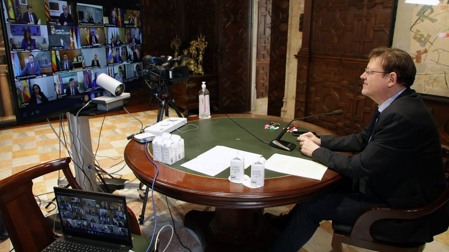 El president Ximo Puig en una videoconferencia con los presidentes autonómicos.