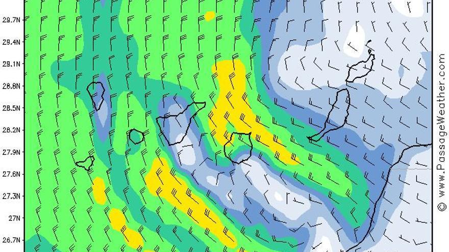 Vientos en Canarias para 24 horas