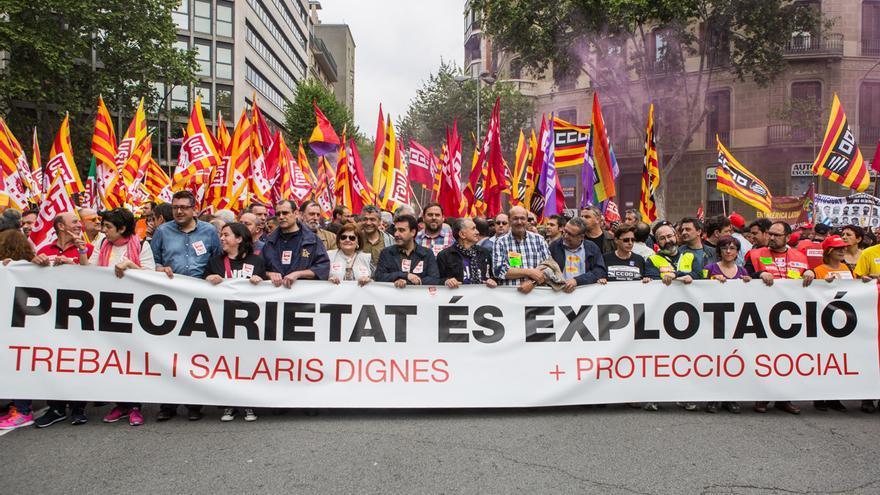 Una manifestación del 1 de mayo en las calles de Barcelona