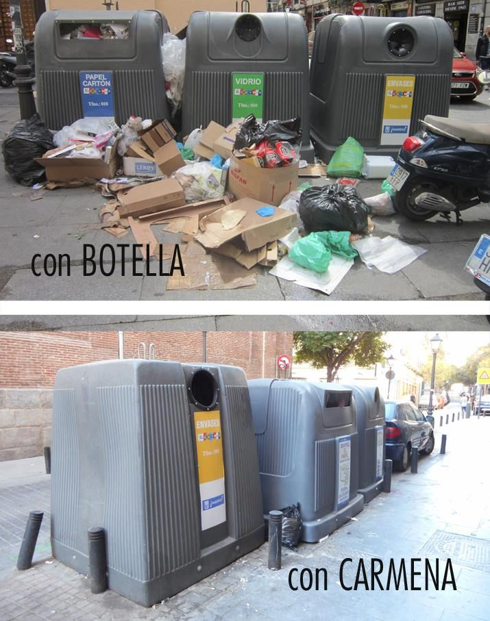 Imágenes publicadas por Acibu sobre la limpieza en las épocas Botella - Carmena | FACEBOOK ACIBU